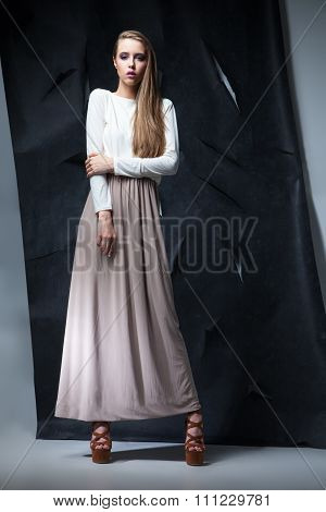 attractive woman in elegant long dress