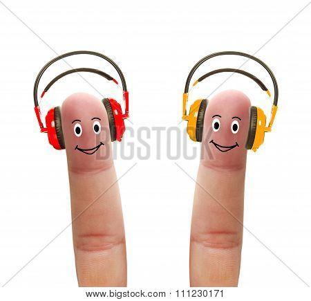 Happy Fingers In Headphones