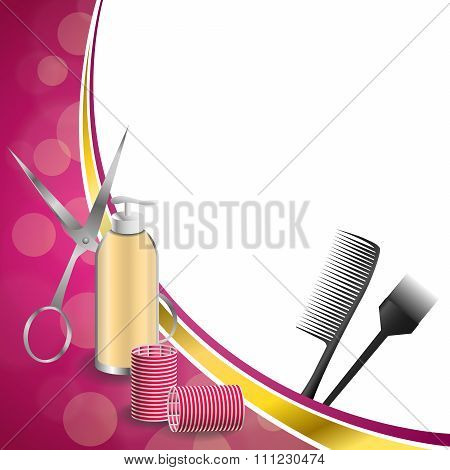 Background abstract pink hairdressing barber tools red curler scissors brush gold ribbon frame