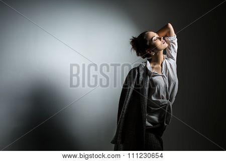 Girl in stylish black coat