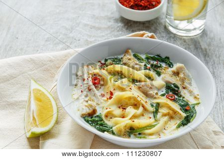 Coconut Curry Chicken Soup with noodles in a plate
