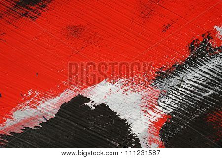 Brushstroke - White,black And Red Acrylic Paint  On  Metal Surface