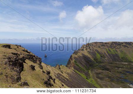 Volcano Rano Kau on Rapa Nui, Easter Island