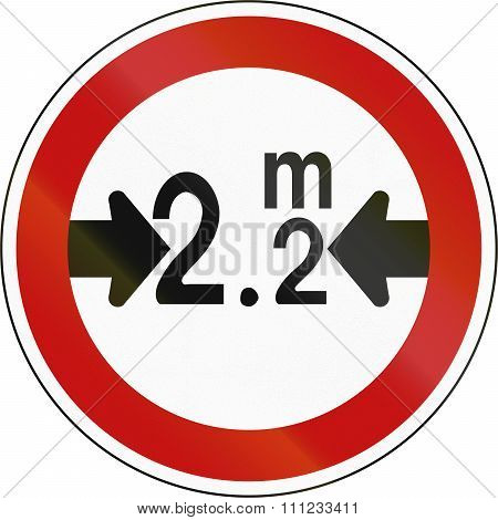 South Korean Regulatory Road Sign - No Vehicles Over 2.2 Meters In Width