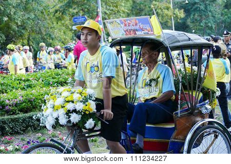 The Son With His Father Riding The Tricycle Around Chiang Mai City In