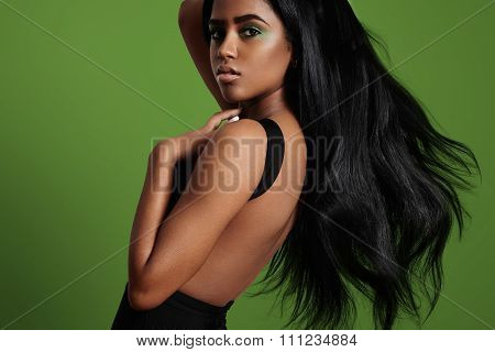 Black Woman With A Stright Blowing Hair