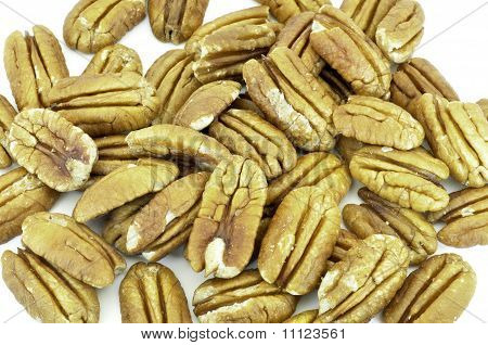 Pecan Nuts Scattered On White Background
