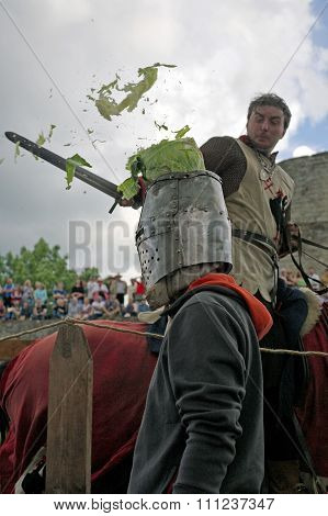 Koporje, Leningrad Region, Russia 2012 July 21. Reconstruction Of Knightly Duels And Battle Chivalro