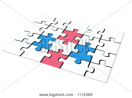 White Pink  Blue Puzzle In 3D