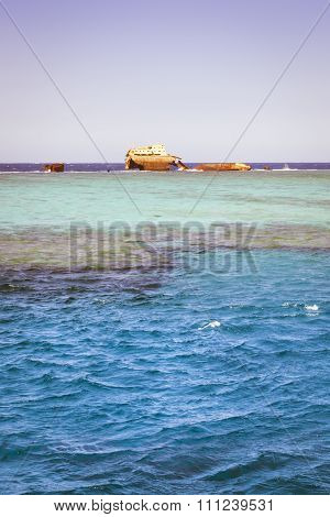 The Sunken Shipwreck On The Reef, Red Sea, Sharm El Sheikh