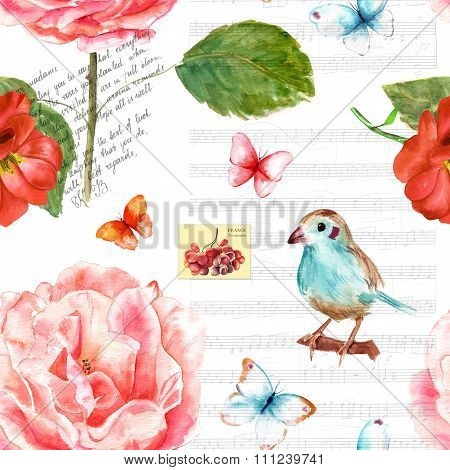 Vintage collage seamless background pattern with roses and butterflies
