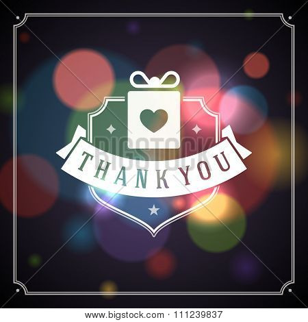 Thank You Typography Message Vintage Greeting Card design template