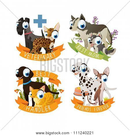 Cats and dogs labels. Collection of stickers for cats and dogs lovers. May be used as logos or tattoos for children.