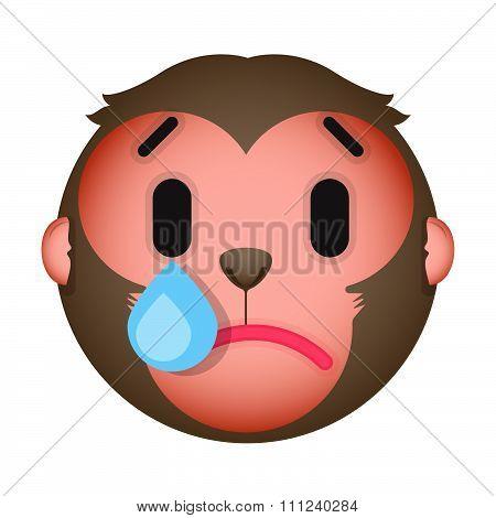 Flat Monkey Cry Emoticon. Isolated Vector Illustration On White Background