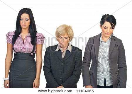 Sad Business Women In A Row