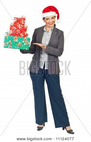 Attractive Executive Woman With Presents