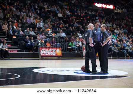 VALENCIA, SPAIN - DECEMBER 12th: referees during Spanish League between Valencia Basket Club and Montakit Fuenlabrada at Fonteta Stadium on December 12, 2015 in Valencia, Spain