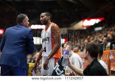 VALENCIA, SPAIN - DECEMBER 12th: Cuspinera talks with Scott during Spanish League between Valencia Basket Club and Montakit Fuenlabrada at Fonteta Stadium on December 12, 2015 in Valencia, Spain
