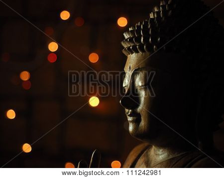 Wooden Buddha face Low Key