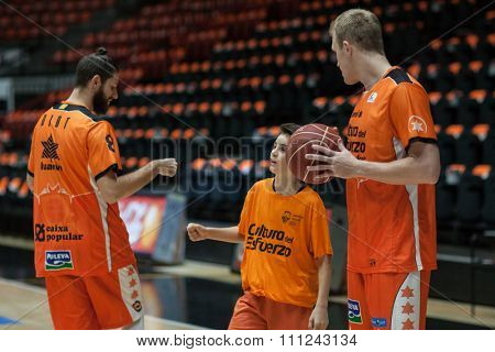 VALENCIA, SPAIN - DECEMBER 12th: Diot (L) Sikma (R) during Spanish League between Valencia Basket Club and Montakit Fuenlabrada at Fonteta Stadium on December 12, 2015 in Valencia, Spain