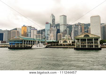 HONG KONG - MAY 06, 2015: Star Ferry Pier in Central. The Star Ferry is a passenger ferry service operator and tourist attraction in Hong Kong