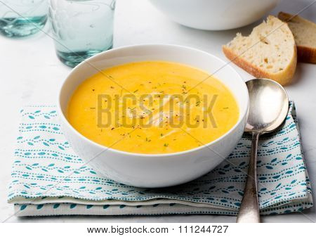 Pumpkin and coconut soup with chicken