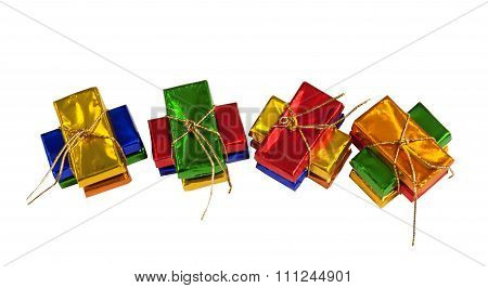 Wrapped sparkling little chocolate presents