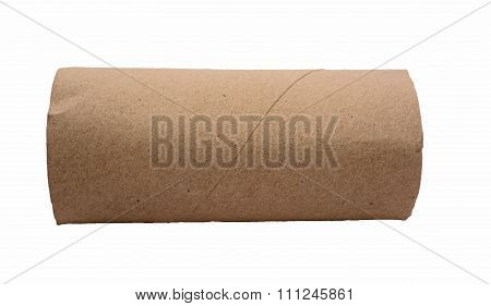 Empty Tissue Paper Roll Isolated On White Background.