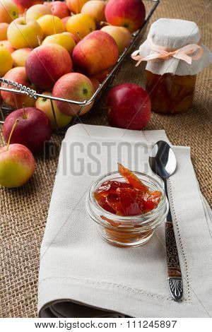 Glass Jars Of Apple Confiture