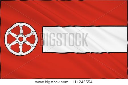 Flag Of Erfurt Is The Capital City Of Thuringia And The Main City Nearest To Geographical Centre Of