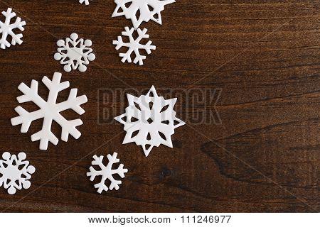 closeup white snowflakes