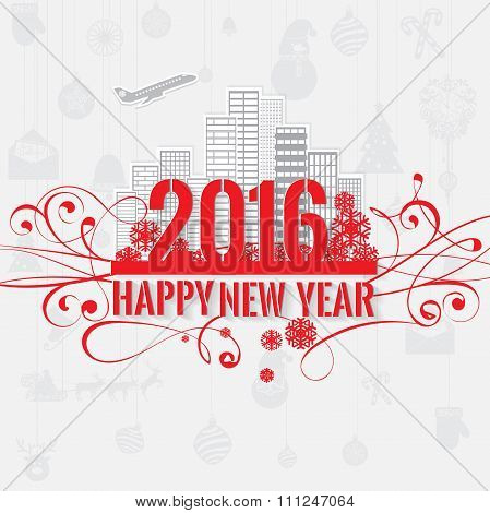 Modern style red gray color scheme new year greetings card on light-gray background
