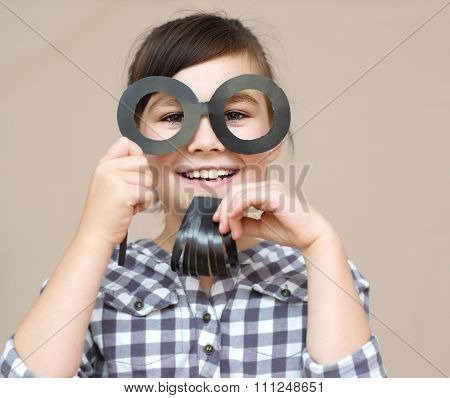 Funny Girl With Fake Beard And Glasses