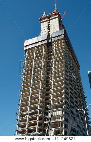 Low Angle View Cranes Building A New Skyscraper