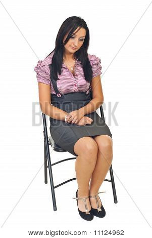 Sad Young Corporate Woman On Chair