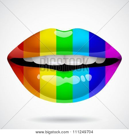 Three dimensional female glossy sexy lips in rainbow vivid color. Vector illustration