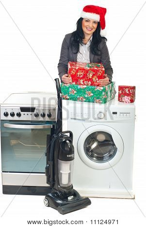 Woman Make Christmas Promotion To Household