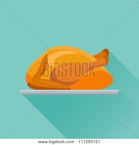 Fried chicken or turkey flat icon