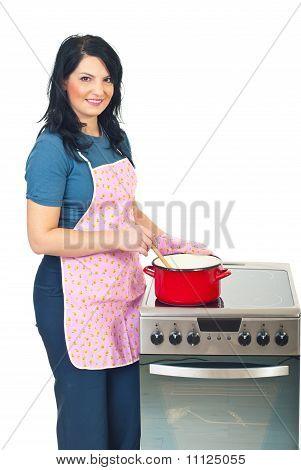 Beautiful Housewife Cooking