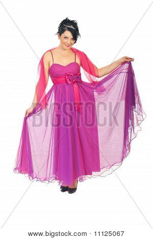 Beautiful Woman In Pink Elegant Dress