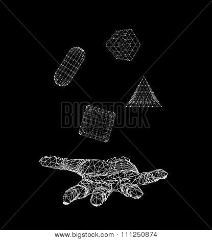 triangle pyramid, capsule, Cube on the arm. Polygon triangle. Polygonal hand. Mesh polygonal