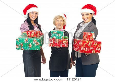 Beautiful Business Women Holding X-mas Gifts