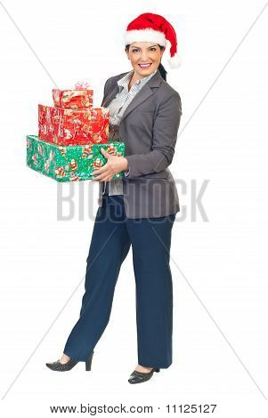 Attractive Business Woman With Christmas Gifts