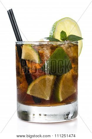 Fresh Made Cuba Libre (isolated On White)