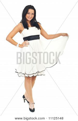 Attractive Woman In White Elegant Dress