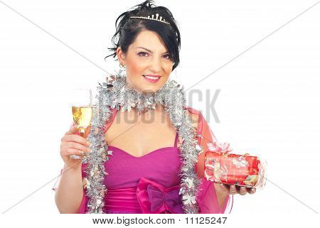 Woman With Christmas Gift And Champagne