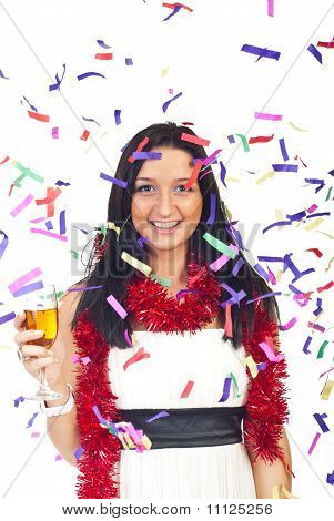 Happy Woman At Party With Confetti