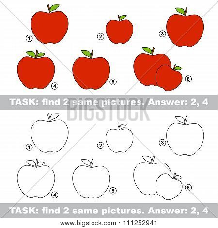 Visual game. Find hidden couple of apple
