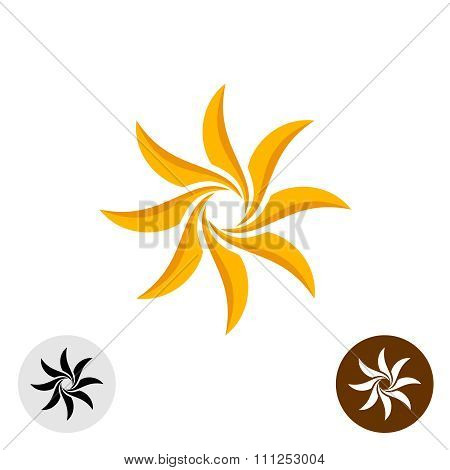 Orange Elegant Sun Logo. Eight Sharp Blades.