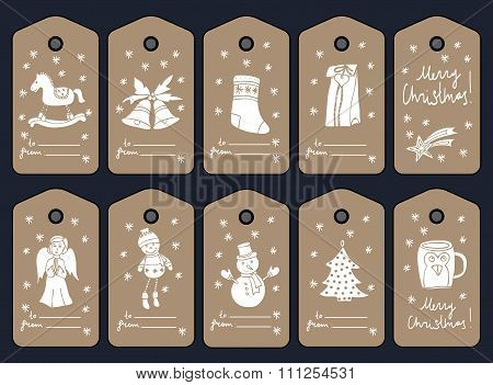 Christmas gift tags, stikers and labels. Vector